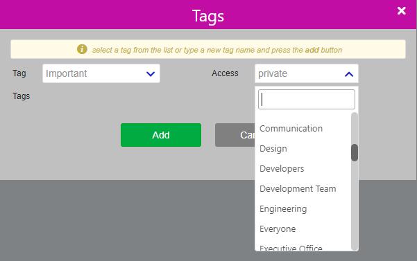 Tags and Links/Comidor low-code bpm platform