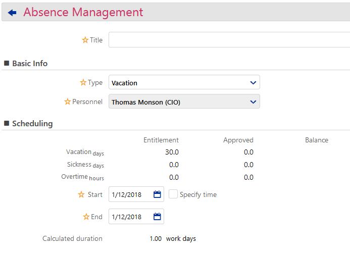Absence Management -Add