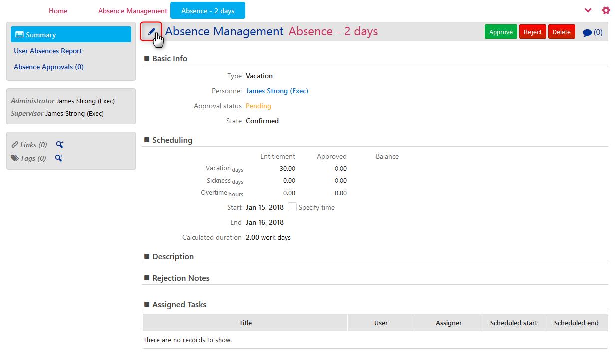 Absence Management - Edit