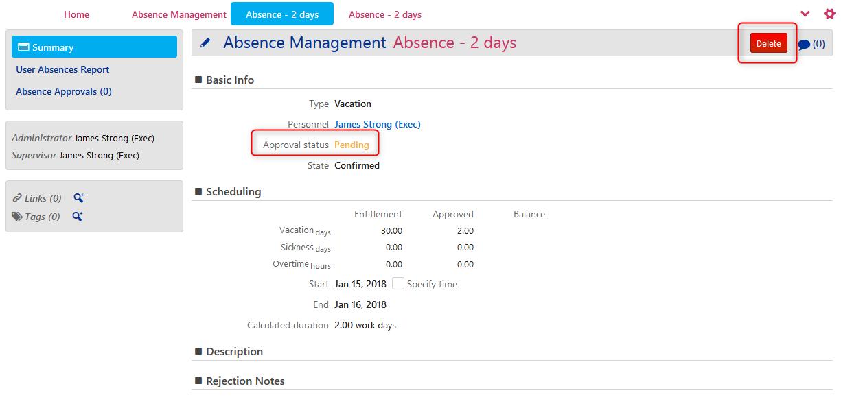 Absence Management - Delete