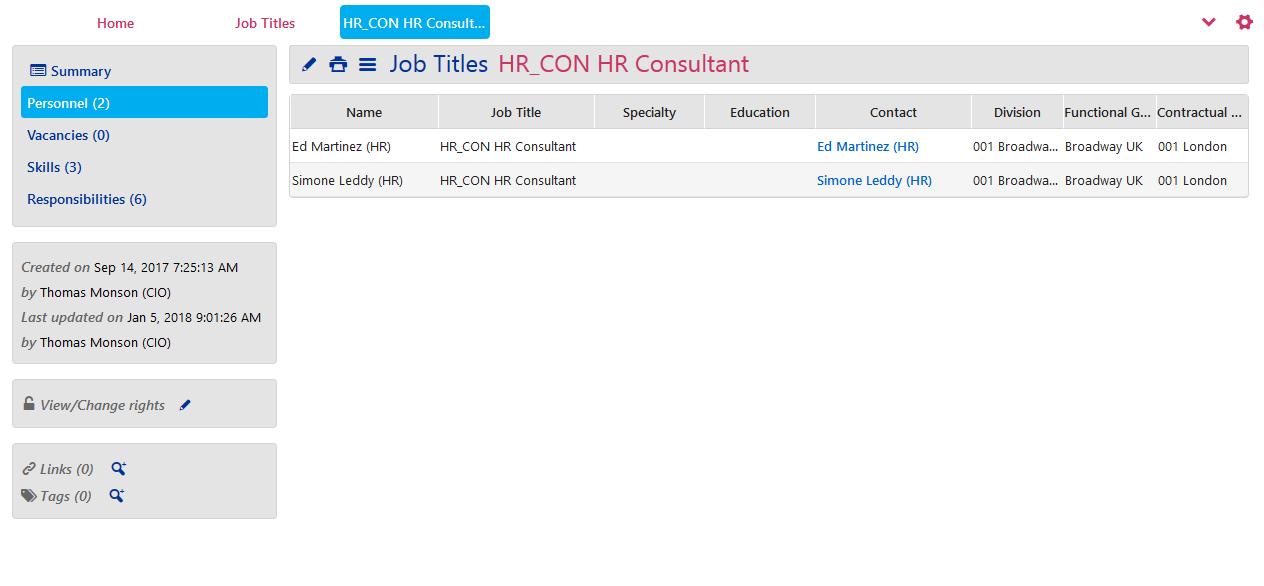 Job Titles - Personnel tab