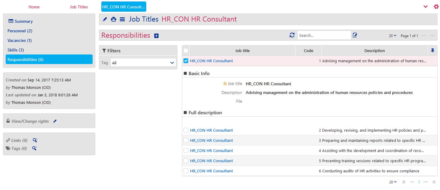 Job Titles - Responsibilities