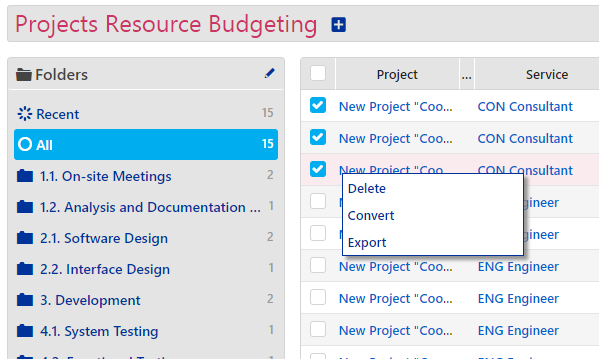 Projects - Resource Budgeting 2