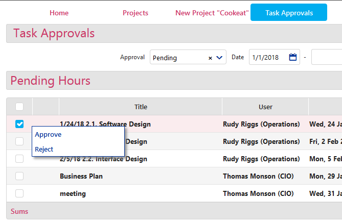 Projects Task Approvals -2