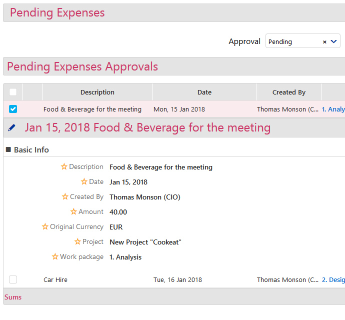 Pending Expenses - 2