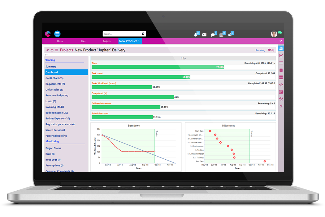 Milestones Burndown Chart | Business Project Management | BPM Platform | Comidor
