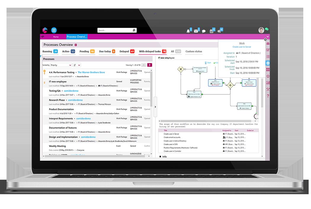 Process Overview | Low-Code Platform | Best Low-Code Development Tool | BPM Platform | Comidor