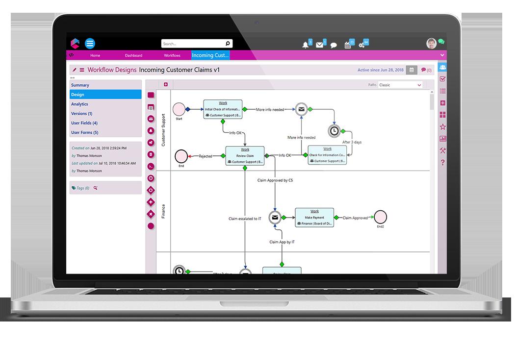 Workflow Design with low-code | Low-Code Platform | BPM Platform | Comidor