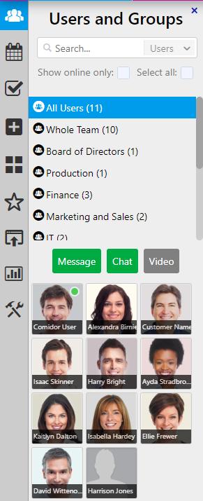 users & groups / Comidor Digital Automation Platform