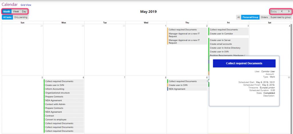 calendar/comidor low-code bpm platform