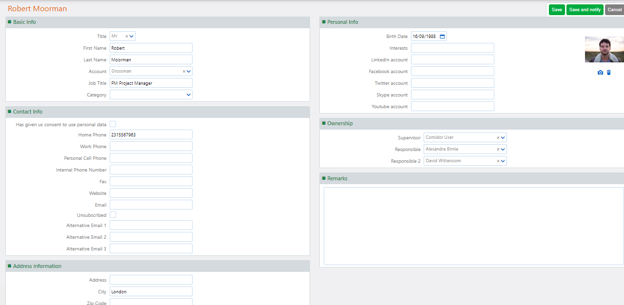Contacts Comidor | Comidor Platform