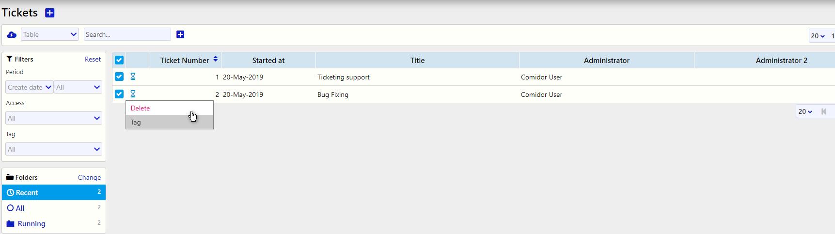 Multiple Ticket actions / Comidor Digital Automation Platform