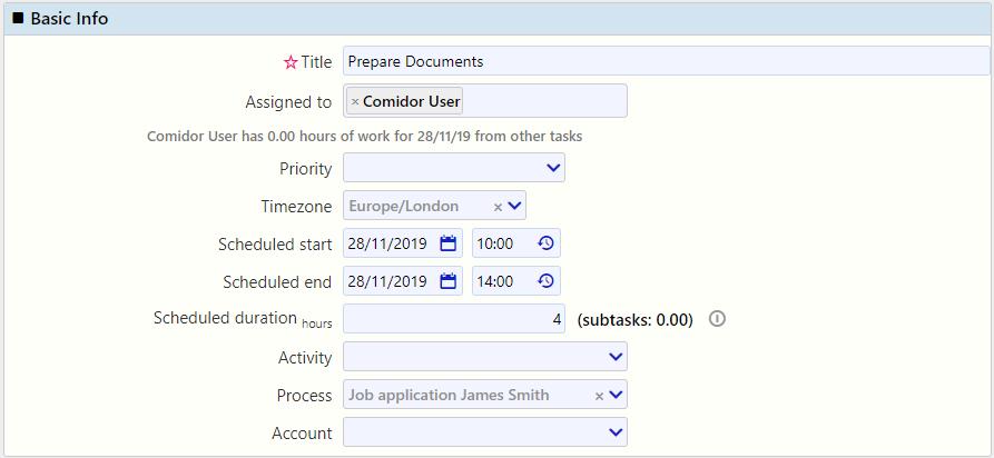 basic info task management / Comidor Digital Automation Platform