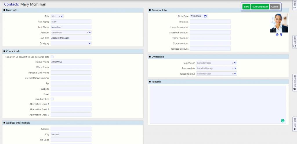 Contacts Comidor / Comidor Digital Automation Platform