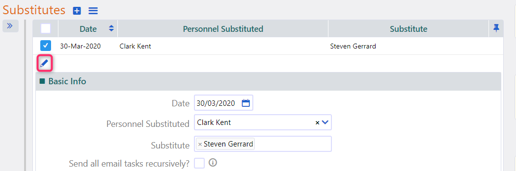 edit substitute | Comidor Platform