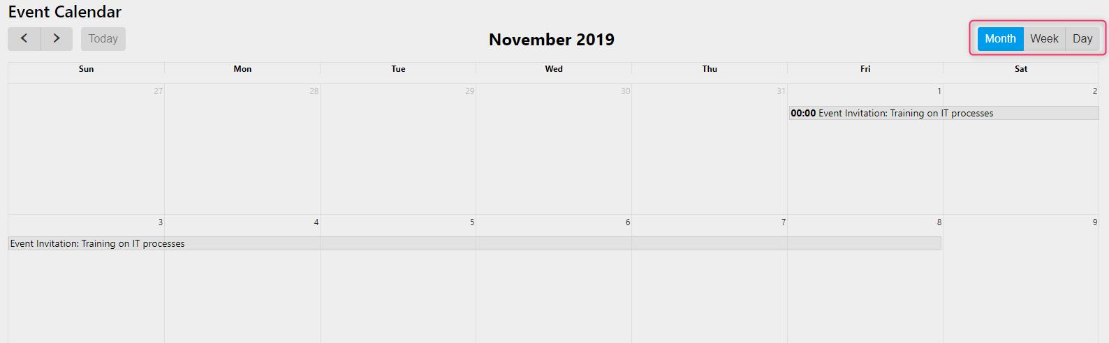 event calendar/ Comidor Digital Automation Platform