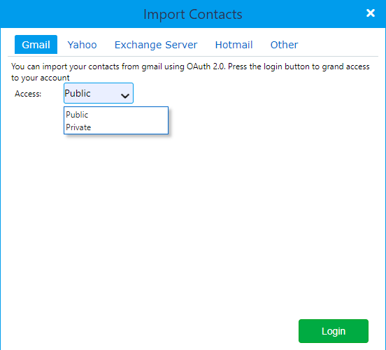import contacts | Comidor Platform