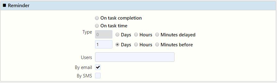 reminder task management / Comidor Digital Automation Platform