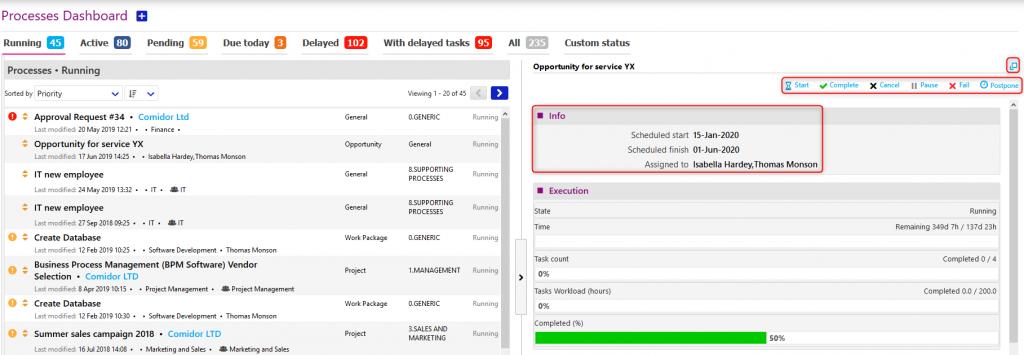 processes Dashboard/comidor low-code bpm platform