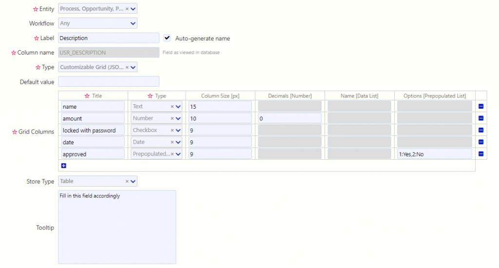 User fields/comidor low-code bpm platform