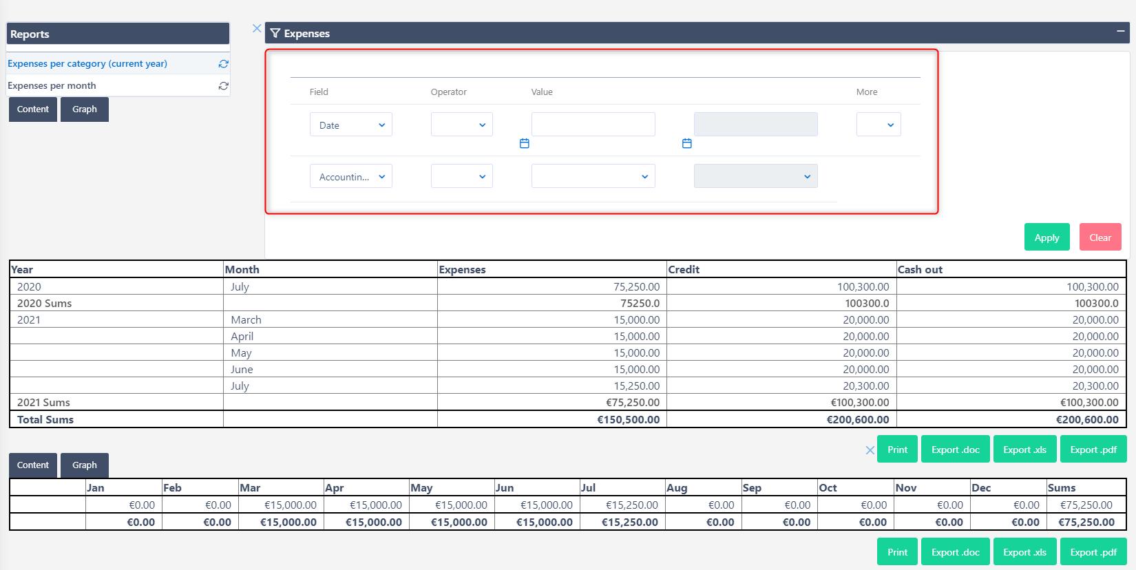 Expenses | Comidor Platform