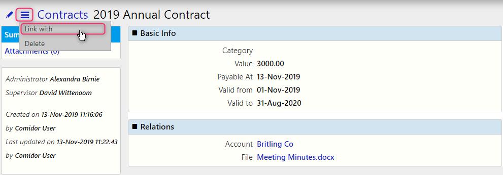 edit a contract / Comidor Digital Automation Platform