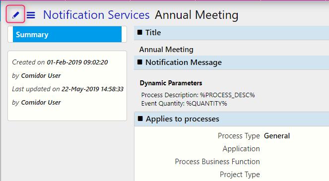 notification services edit / Comidor Digital Automation Platform