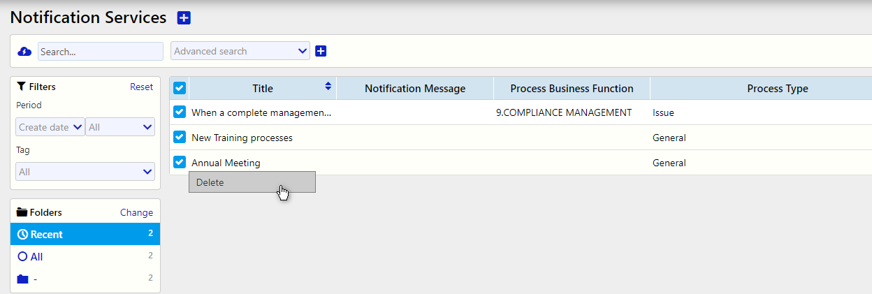notification services manage all delete / Comidor Digital Automation Platform
