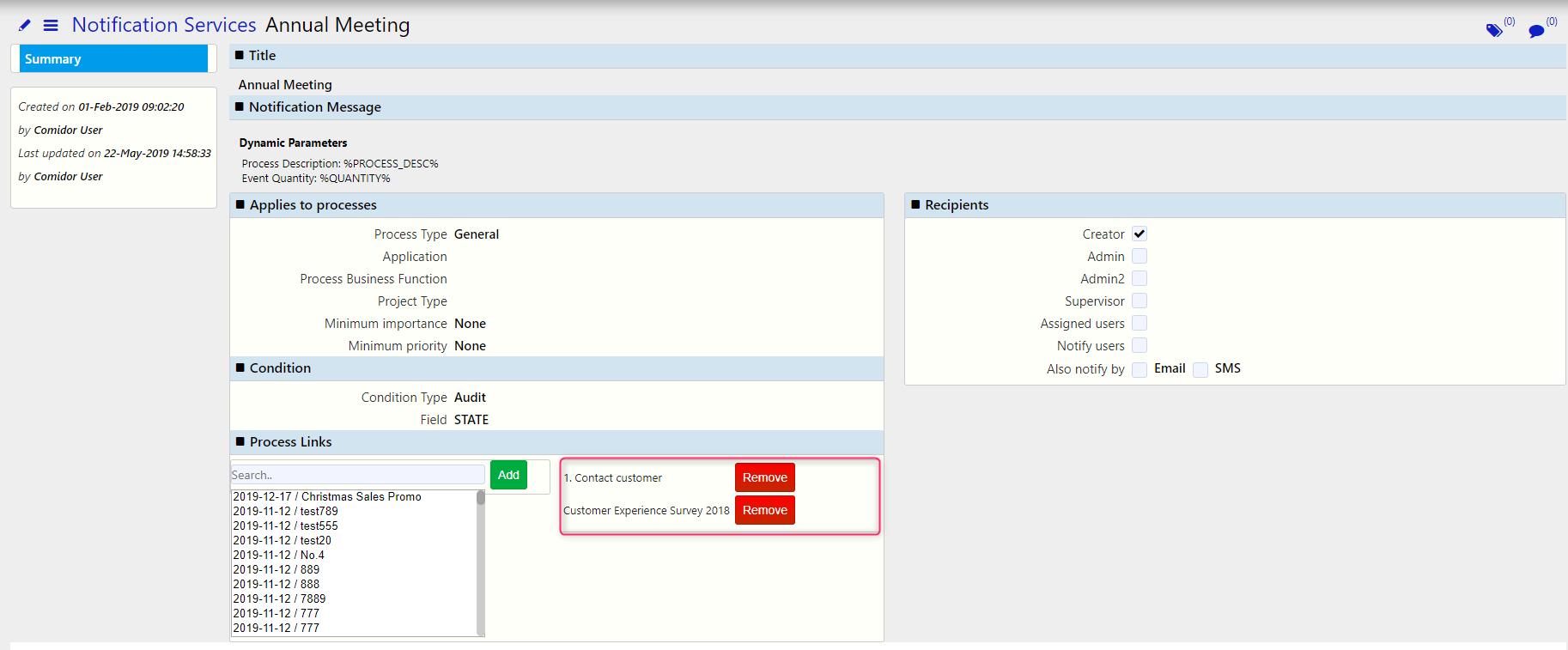 notification services remove / Comidor Digital Automation Platform