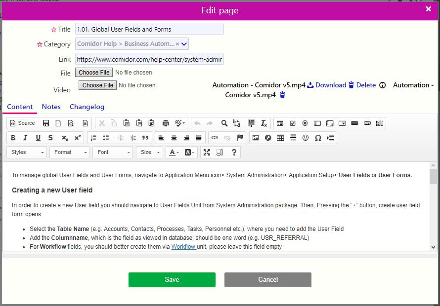Wikis edit  Comidor Digital Automation Platform