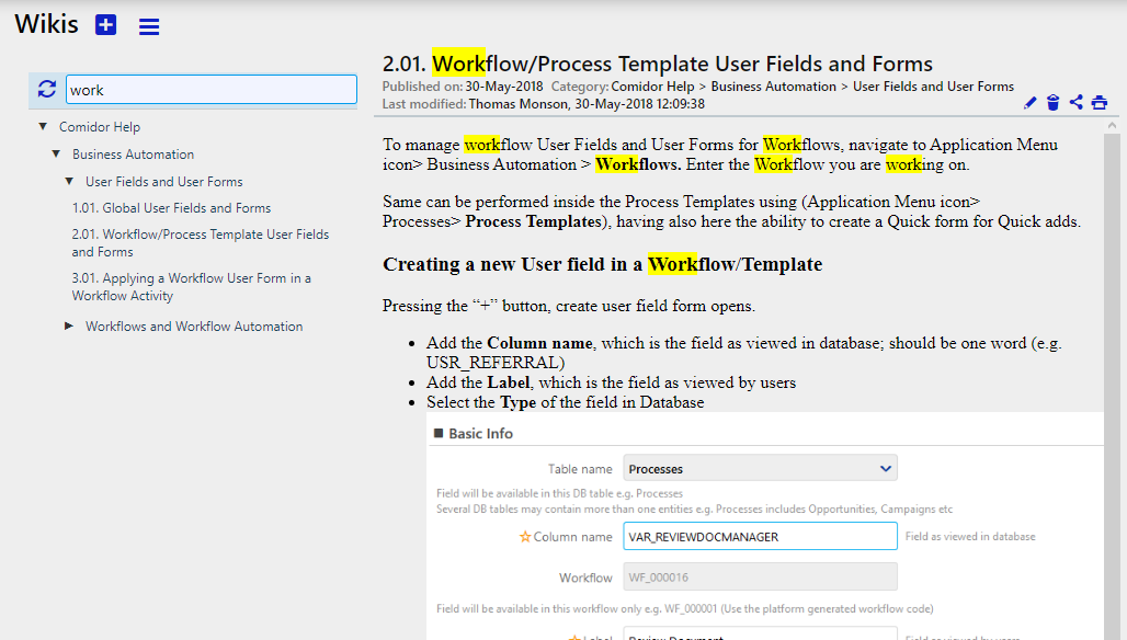 Wikis search  Comidor Digital Automation Platform