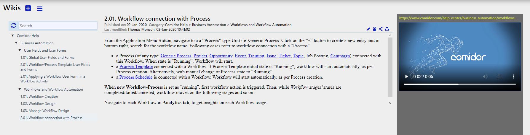 Wikis preview   Comidor Digital Automation Platform