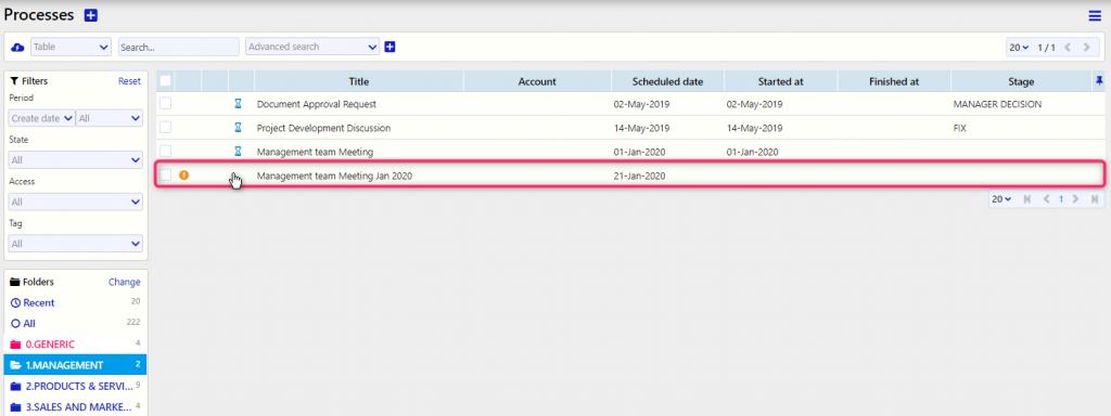 Manage processes   Comidor Digital Automation Platform