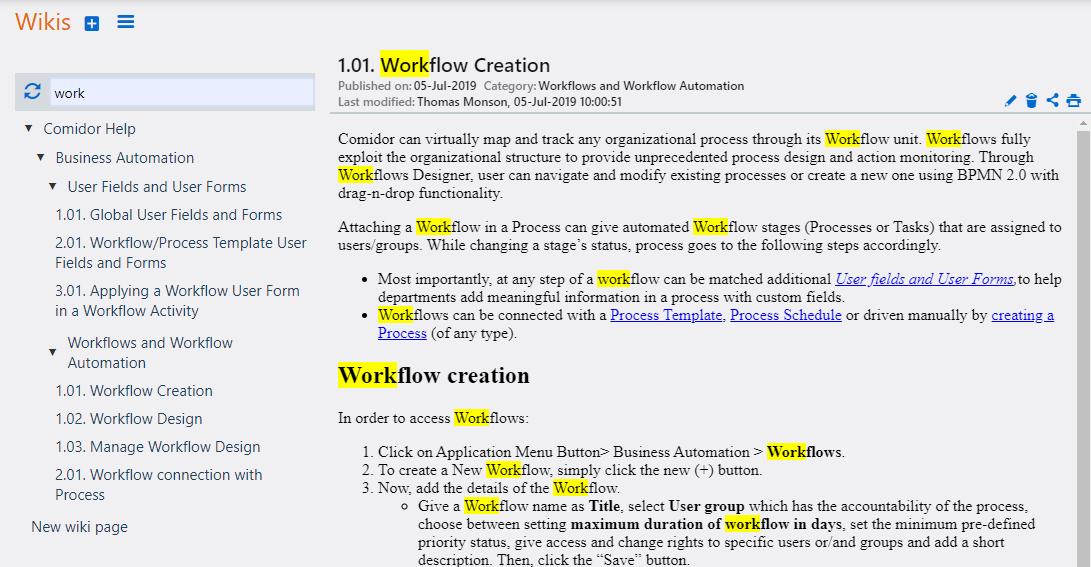 Search Wiki | Comidor Platform