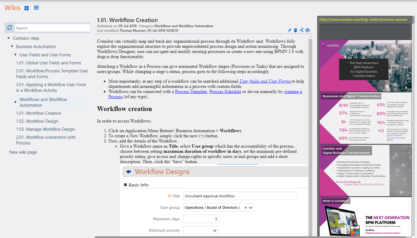 Wikis preview | Comidor Platform