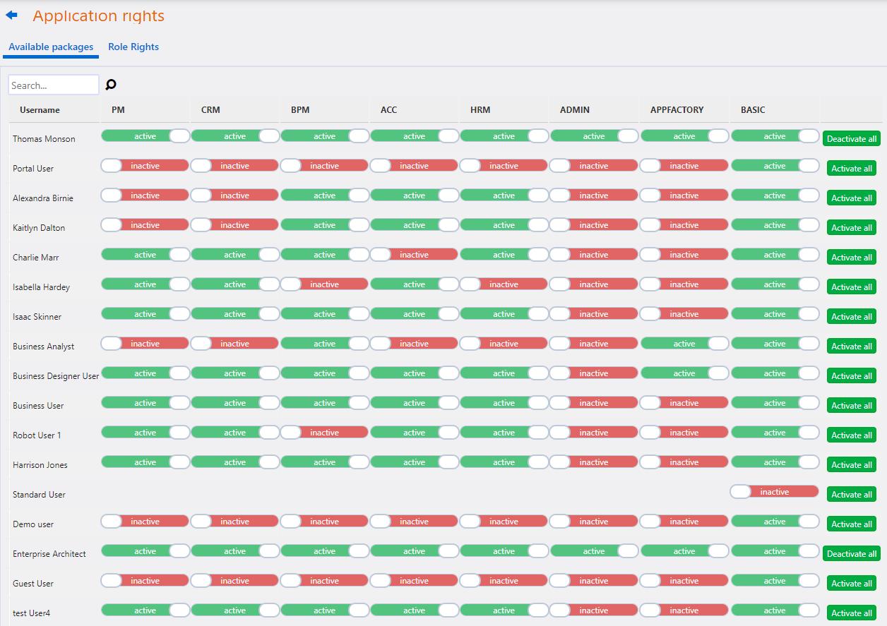 Application Rights   Comidor Platform