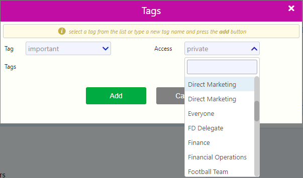 Access filter tags / Comidor Digital Automation Platform