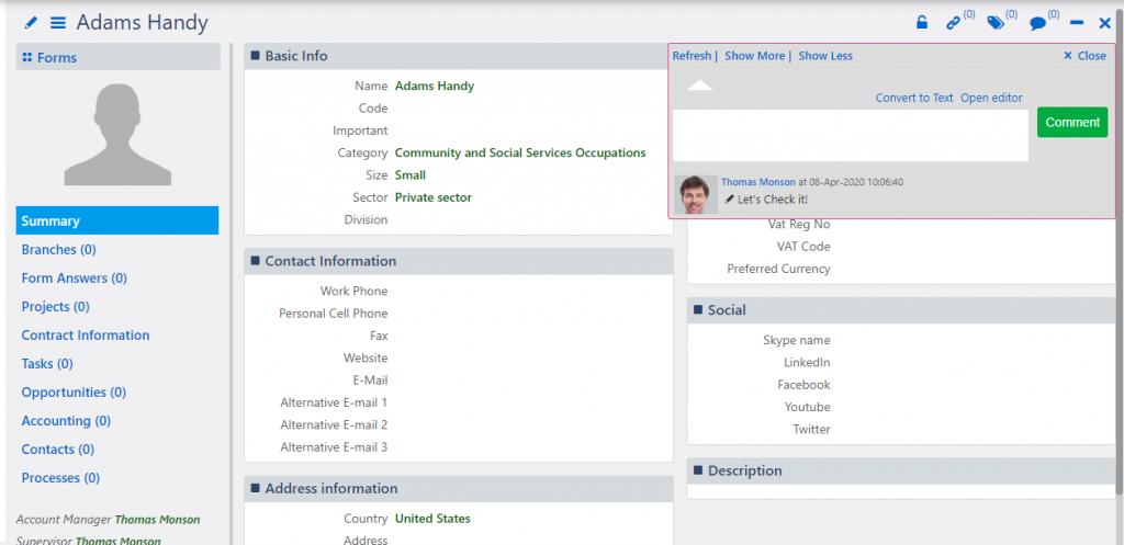Accounts | Comidor Platform