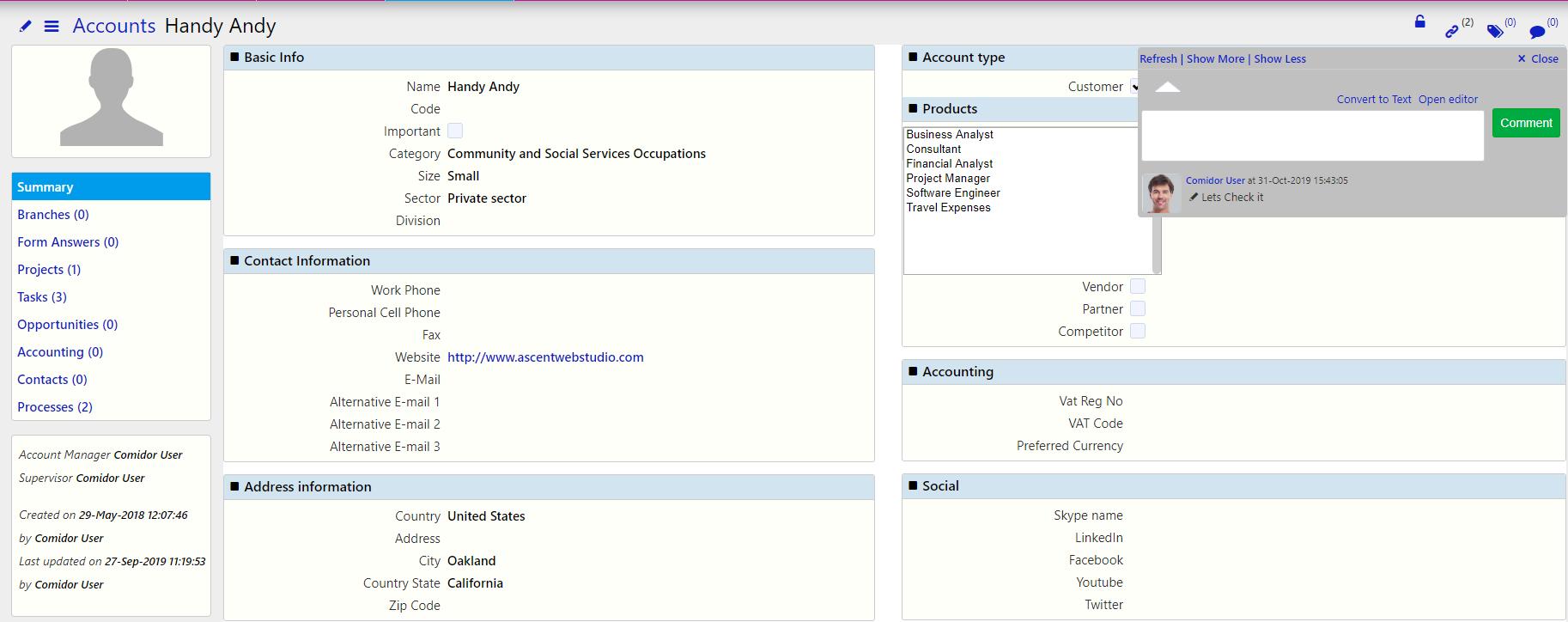 Accounts/ Comidor Digital Automation Platform
