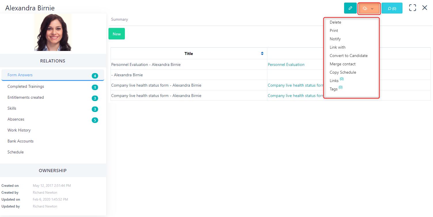 actions icon - Personnel v.6| Comidor Platform