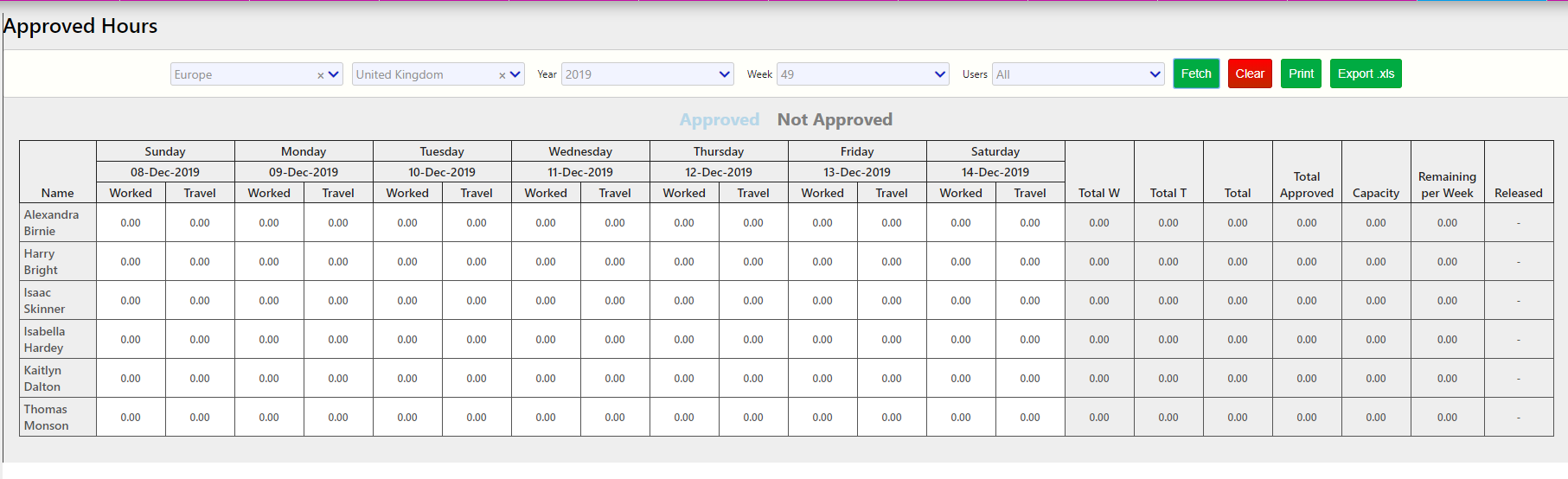 approved hours / Comidor Digital Automation Platform