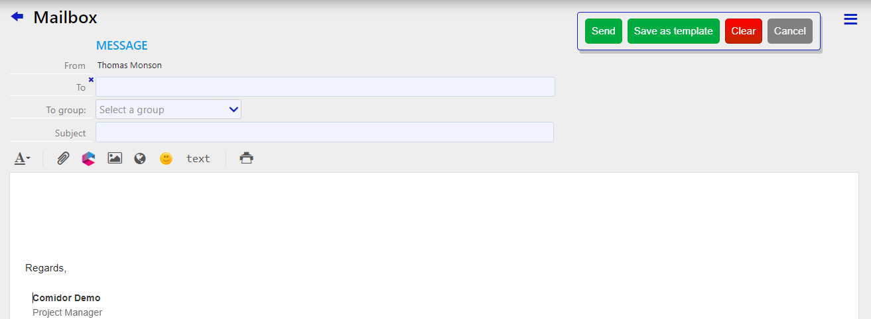 internal email | Comiudor Digital Automation Platform