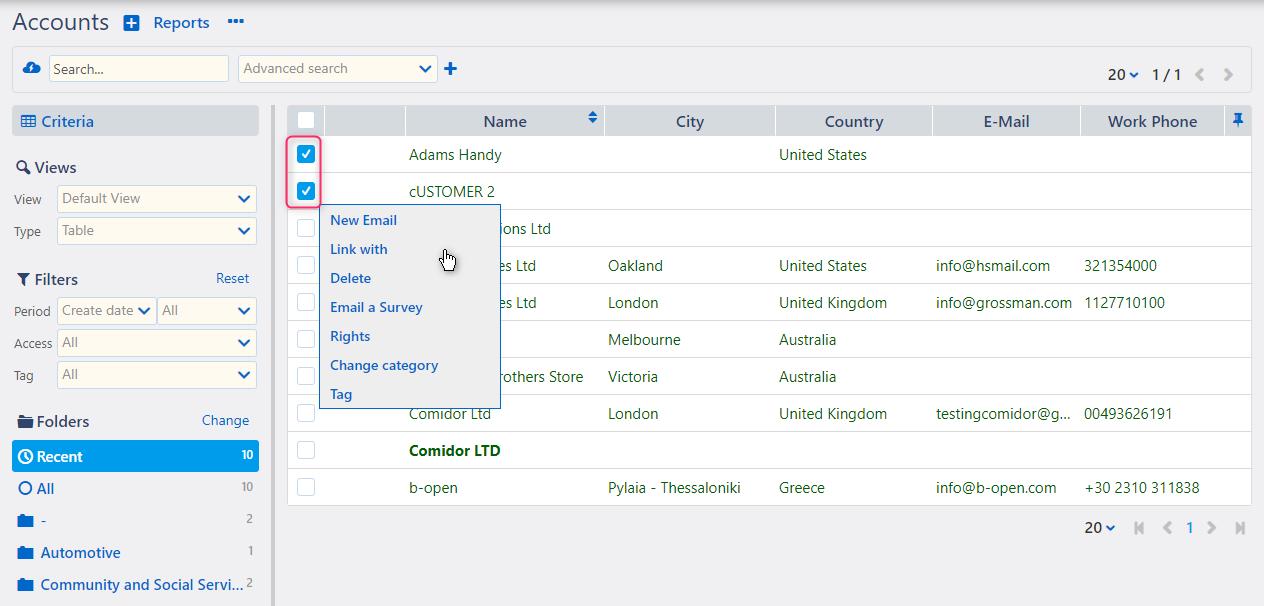 Manage a group of accounts Accounts | Comidor Platform