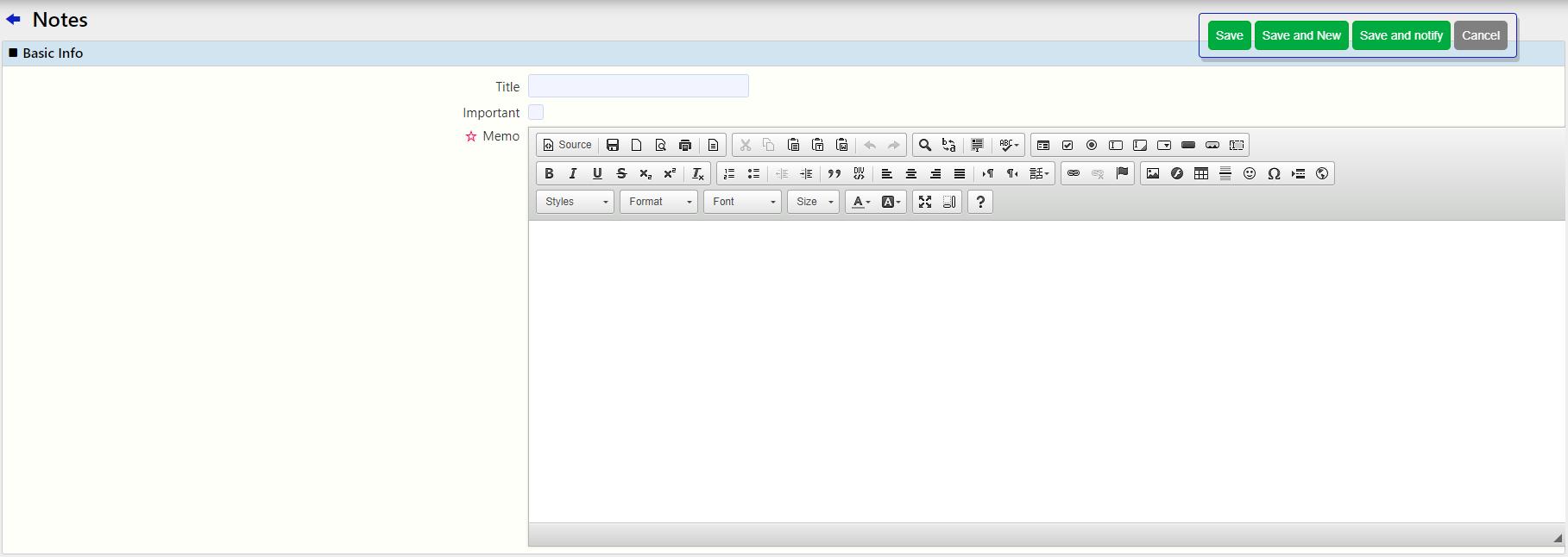 Create a note / Comidor Digital Automation platform