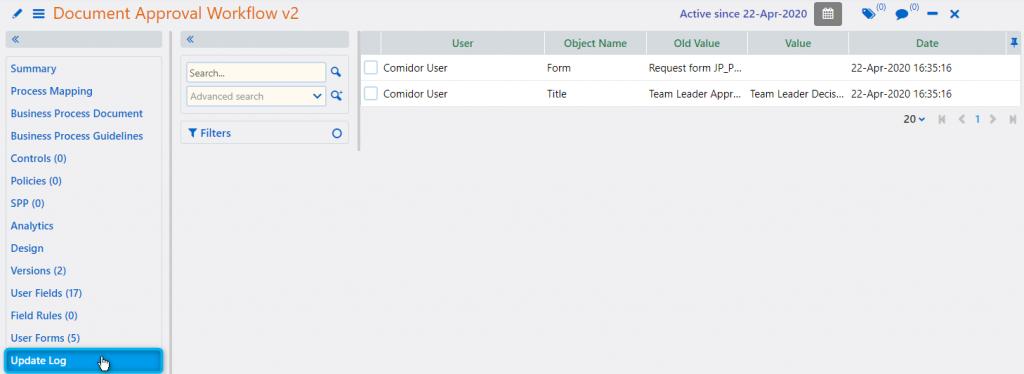 Workflow update log | Comidor Platform