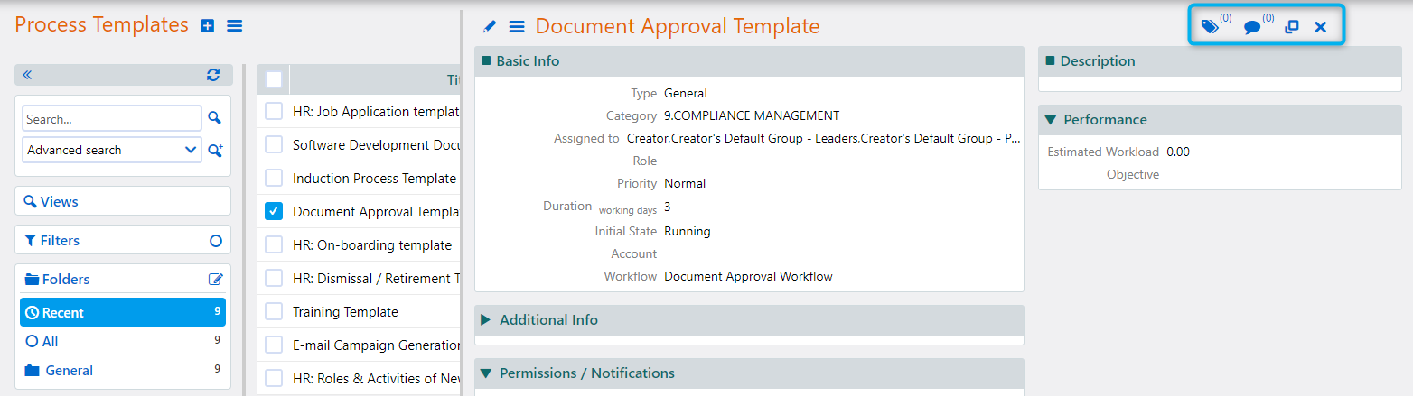 Process template | Comidor Platform