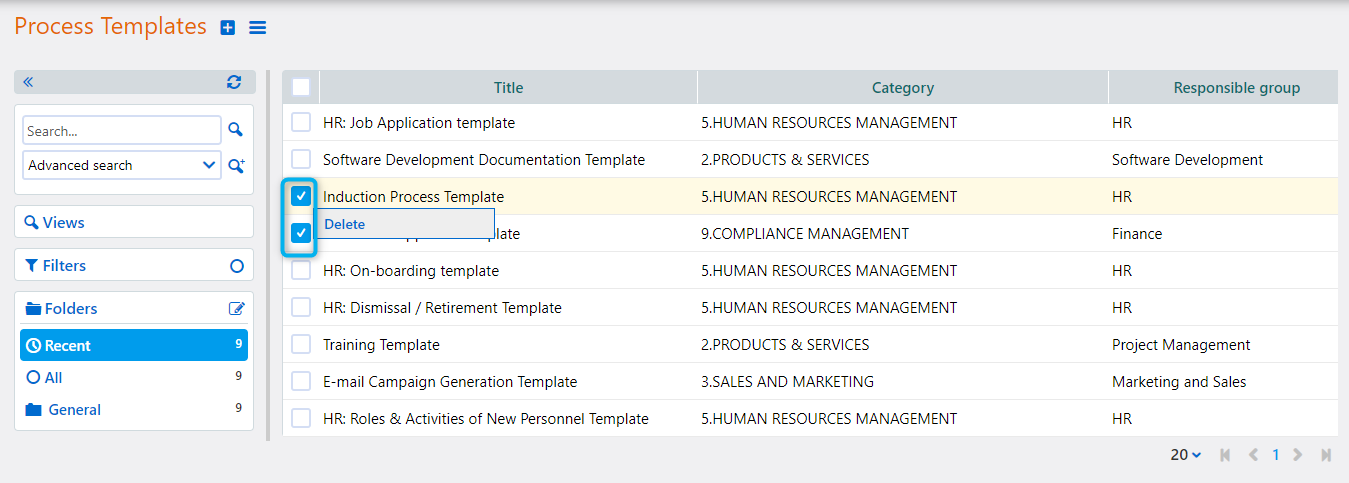 Process template actions | Comidor Platform