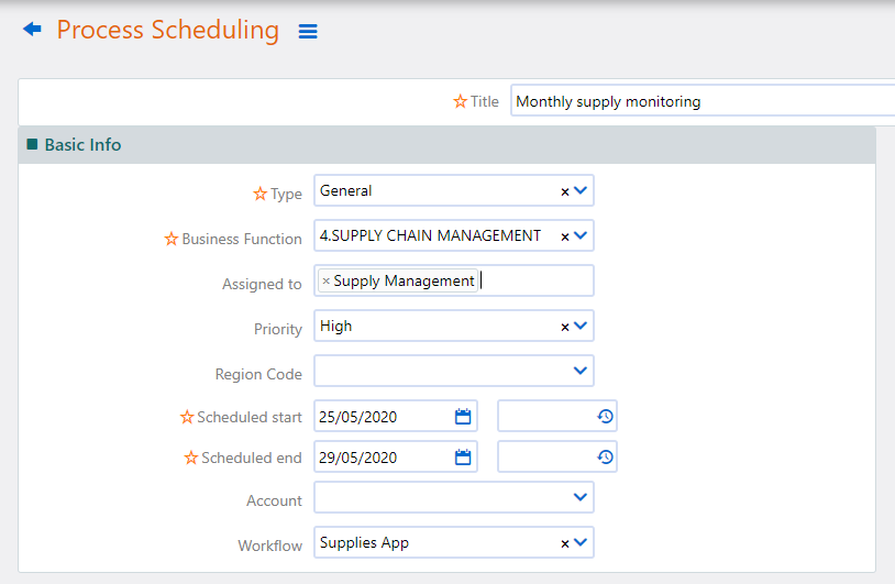 Process Scheduling creation | Comidor Platform
