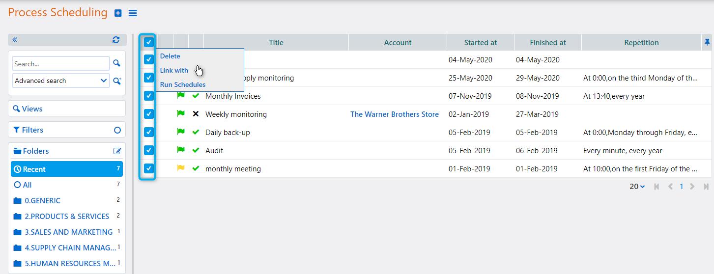 Process Scheduling actions | Comidor Platform