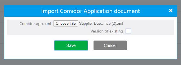 Import App builder | Comidor Platform